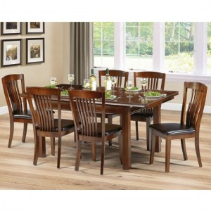Canterbury Wooden Dining Table In Mahogany With 6 Chairs