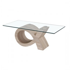 Cape Glass Top Coffee Table With Natural Wooden Base
