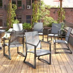 Outdoor Dining Chairs Set of 6 Capitol Hill Patio Steel Dining Chairs Light Grey