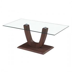 Capri Clear Glass Coffee Table With Walnut Wooden Base