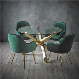 Capri Clear Glass Dining Set With 4 Lara Green Velvet Chairs