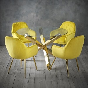 Capri Clear Glass Dining Set With 4 Lara Yellow Velvet Chairs