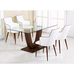 Capri Clear Glass Dining Set With Walnut Legs And 6 Chairs