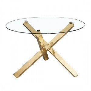 Capri Glass Dining Table With Gold Metal Legs