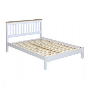 Capri Wooden Slatted Lowend Double Bed In Pine And White