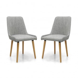 Capri Flax Effect Grey Weave Fabric Dining Chair In Pair