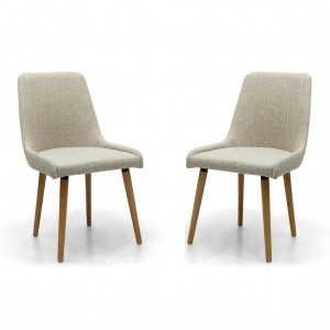 Capri Flax Effect Natural Fabric Dining Chair In Pair