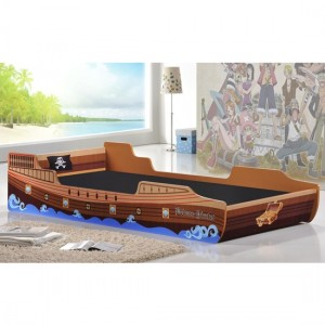 Captains Wooden Pirate Ship Single Bed In Brown