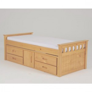 Captains Wooden Single Bed In Oak With 1 Door And 4 Drawers