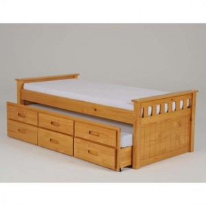 Captains Wooden Storage Single Bed With Guest Bed In Oak