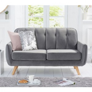 Caren Velvet Upholstered 2 Seater Sofa In Grey