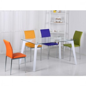 Carina Clear Glass Dining Set With White High Gloss Legs