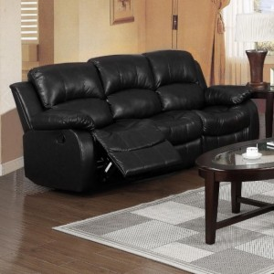 Carlino Bonded Leather Recliner 3 Seater Sofa In Black