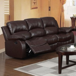 Carlino Bonded Leather Recliner 3 Seater Sofa In Brown
