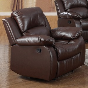 Carlino Leather Recliner 1 Seater Sofa In Brown