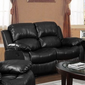 Carlino Recliner Full Bonded Leather 2 Seater In Black
