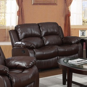 Carlino Recliner Full Bonded Leather 2 Seater In Brown