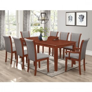 Carlo Wooden Dining Table In Mahogany With 6 Side Chairs And 2 Arm Chairs