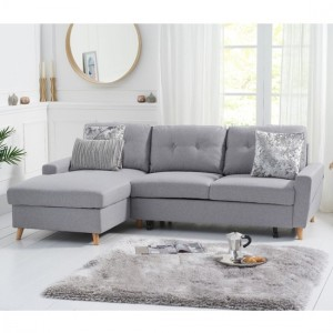 Carlotta Linen Left Hand Facing Chaise Sofa Bed In Grey