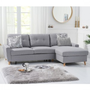 Carlotta Linen Right Hand Facing Chaise Sofa Bed In Grey