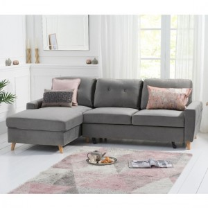 Carlotta Velvet Left Hand Facing Chaise Sofa Bed In Grey