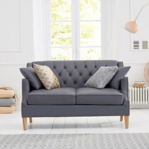 Carmen Faux Leather 2 Seater Sofa In Grey