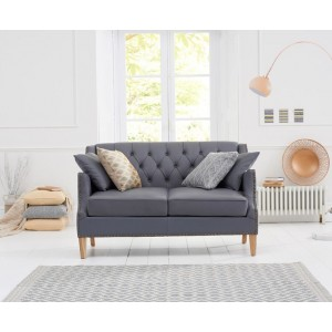 Oregon 2 Seater Sofa In Grey Leather With Natural Ash Legs