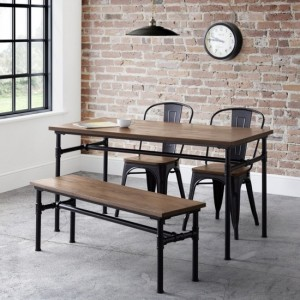 Carnegie Dining Table In Mocha Elm With Bench And 2 Grafton Chairs