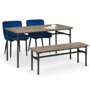 Carnegie Dining Table In Mocha Elm With Bench And 2 Luxe Blue Chairs