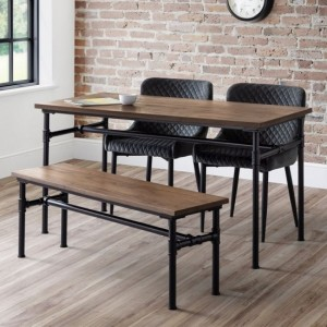 Carnegie Dining Table In Mocha Elm With Bench And 2 Luxe Grey Chairs
