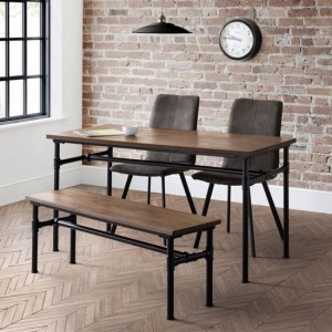 Carnegie Dining Table In Mocha Elm With Bench And 4 Monroe Chairs
