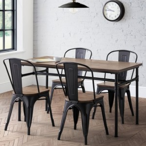 Carnegie Wooden Dining Table In Mocha Elm With 4 Grafton Chairs