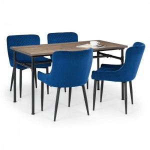 Carnegie Wooden Dining Table In Mocha Elm With 4 Luxe Blue Chairs