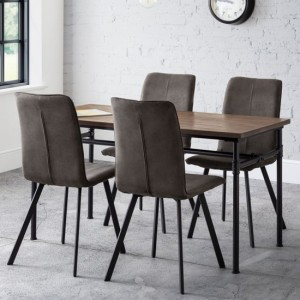 Carnegie Wooden Dining Table In Mocha Elm With 4 Monroe Chairs