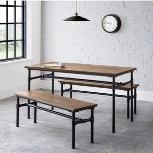 Carnegie Wooden Pipe Dining Table With 2 Benches In Mocha Elm