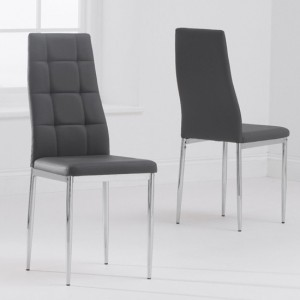 Carolina Grey Faux Leather Dining Chairs In Pair