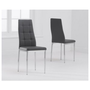 Dora Dining Chair In Grey Faux Leather With Chrome Base In A Pair