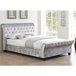 Carrie Crushed Velvet Double Bed In Grey