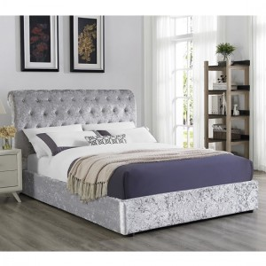Carrie Crushed Velvet Storage Double Bed In Grey