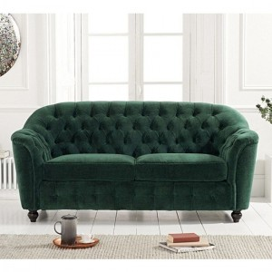 Carrie Velvet Upholstered 2 Seater Sofa In Green