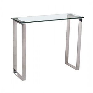 Carter Glass Console Table With Stainless Steel Legs