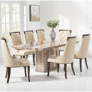 Carvelle Large Marble Dining Table In Brown With 6 Rome Chairs
