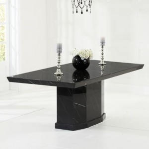Carvelle Large Rectangular Marble Dining Table In Black