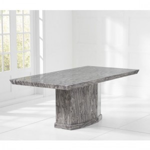 Carvelle Large Rectangular Marble Dining Table In Grey