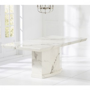 Carvelle Large Rectangular Marble Dining Table In White