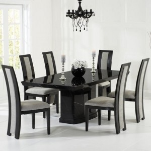 Carvelle Marble Dining Table In Black With 8 Venezia Grey Chairs