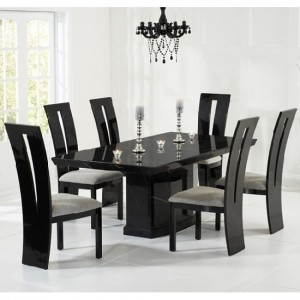 Carvelle Marble Dining Table In Black And 8 Rome Grey Chairs