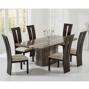 Carvelle Marble Dining Table In Brown And 6 Rome Cream Chairs