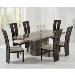 Carvelle Marble Dining Table In Brown And 8 Rome Cream Chairs