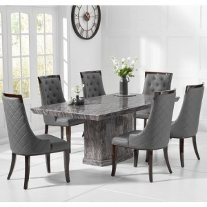 Carvelle Small Marble Dining Table In Grey With 4 Rome Chairs